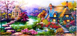 Diamond painting prachtig villa (70x35cm)(full)