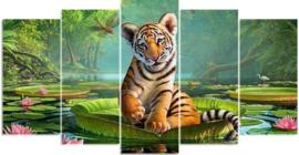 Diamond painting prachtige tijger (5 luik)(2x15x30cm)(2x15x35cm)(1x15x40cm)(full)