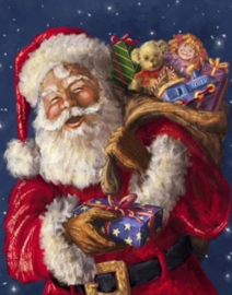 Diamond painting lachende kerstman (60x45cm)(full)