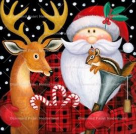 Kerst man met hertje 30 x 30 cm (full)