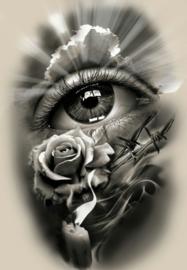 Diamond painting roos bij oog (80x60cm)(full)