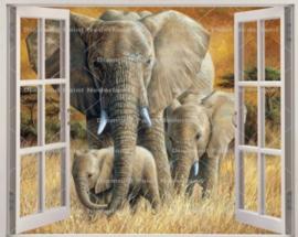 Diamond painting raamuitzicht olifantjes (70x55cm)(full)
