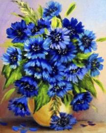 Diamond painting vaas blauwe bloemen (50x40cm)(full)