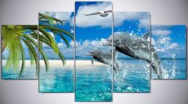 Diamond painting prachtige dolfijnen (5 luiken)(2x15x20cm)(2x15x30cm)(1x15x40cm)(full)