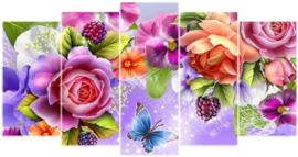 Diamond painting prachtige bloemen (5 luik)(2x15x25cm)(2x15x30cm)(1x15x38cm)(full)(ronde steentjes)