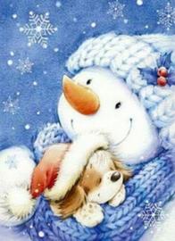 Diamond painting sneeuwpop met hondje (50x40cm)