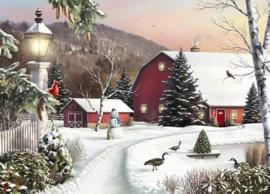 Diamond painting prachtig sneeuw plaatje (80x60cm)(full)