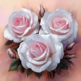 Diamond painting roze rozen (40x40cm)(full)