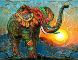 Diamond painting kleurige olifant (60x45cm)(full)