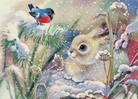 Diamond painting konijntje met vogeltje (50x40cm)(full)