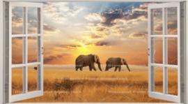 Diamond painting raam uitzicht olifantjes (60x40cm)(full)