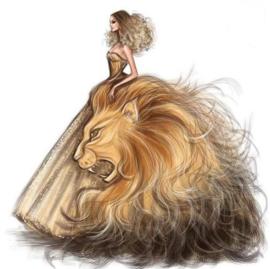 Diamond Painting leeuwen vrouw (50x50cm)full)