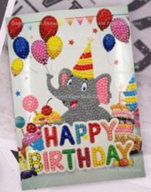 Verjaardags kaart olifant (per stuk)