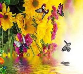 Diamond painting bloemen met vlinders (50x40cm)(full)