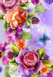 Diamond painting kleurrijke rozen (60x40cm)