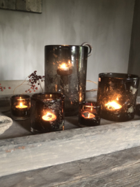 Windlicht met metalen snippers, chocolate