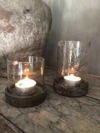 Windlicht/ pot met houten deksel, S