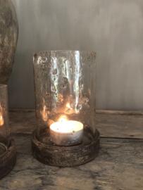 Windlicht  / pot met houten deksel, M