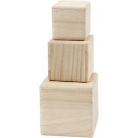 Houten kubussen, set van 3 stuks