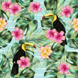 Vinyl Tropical Summer  Flowers Toecan, FLowers & Fern Light Blue