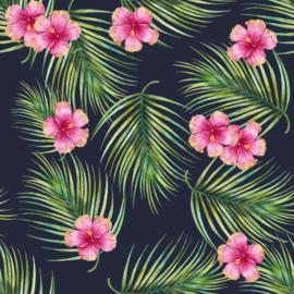 Vinyl Tropical Summer Flowers & Fern Navy