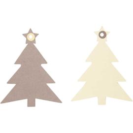 Cadeaulabel kerstboom, set van 20 stuks