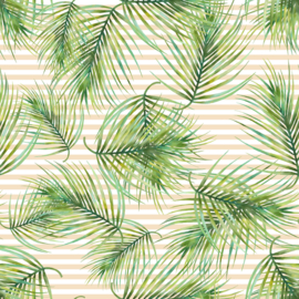 Vinyl Tropical Summer  Flowers Fern Stripes Natural