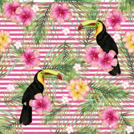 Vinyl Tropical Summer  Flowers Toecan, Flowers & Fern Stripes Pink