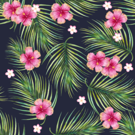 Vinyl Tropical Summer  Flowers White Pink & Fern Navy
