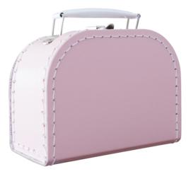 Kartonnen koffertje 16 cm lichtroze