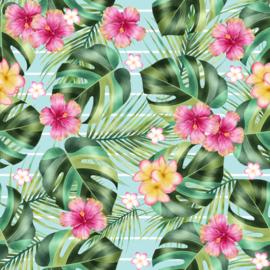 Vinyl Tropical Summer  Flowers Fern & Leaves Stripes Light Blue