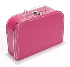 Kartonnen koffertje 25 cm fuchsia