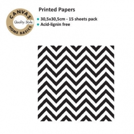 Canvas Corp scrapbookvel Chevron black & white