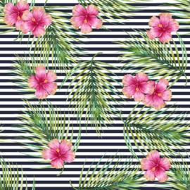 Vinyl Tropical Summer  Flowers & Fern Stripes Navy