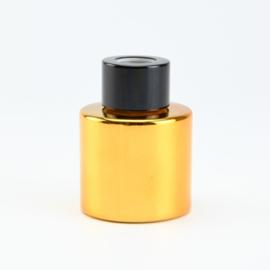 Geurflesje cylinder goud met zwarte schroefdop