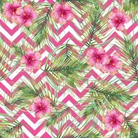 Vinyl Tropical Summer  Flowers Flowers & Fern Chevron Pink