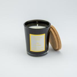 Geurkaarsje cederhout in zwart glaasje