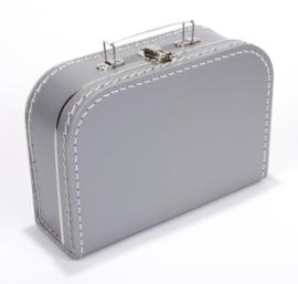 Kartonnen koffertje 25 cm zilvergrijs