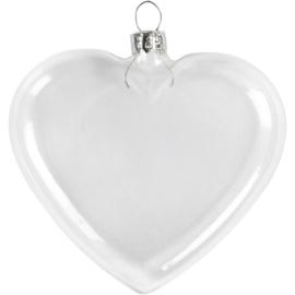 Glazen kerstbal hart