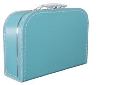 Kartonnen koffertje 25 cm turquoise