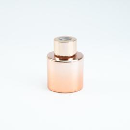 Geurflesje cylinder rosé goud met rosé gouden schroefdop