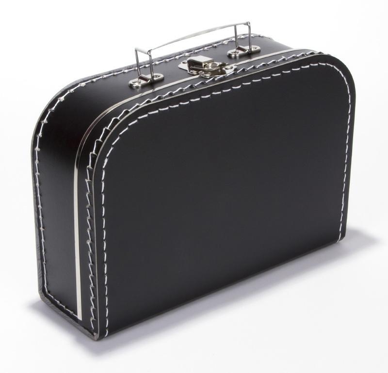 Kartonnen koffertje 25 cm zwart