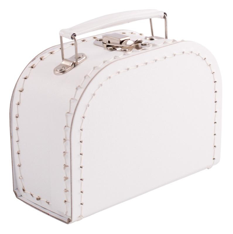 Kartonnen koffertje 16 cm wit