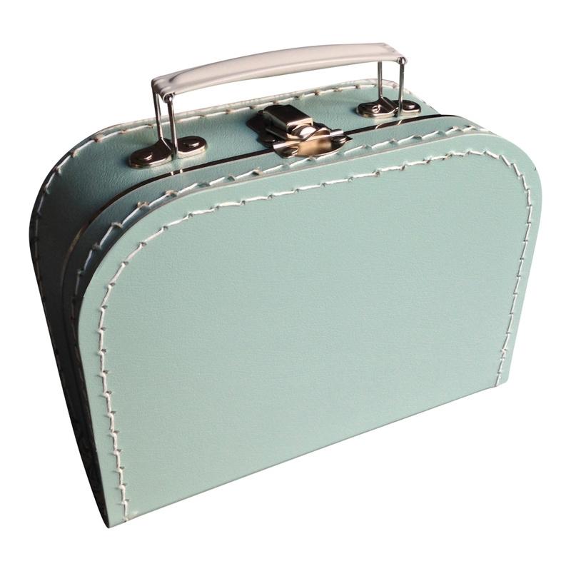 Kartonnen koffertje 20 cm mintgroen