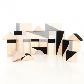 Houten Blokken Geometrisch Black & Grey