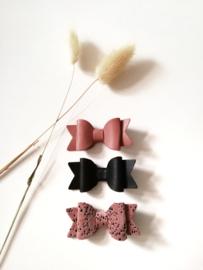 Haarstrikjes pink and black (set van 3)