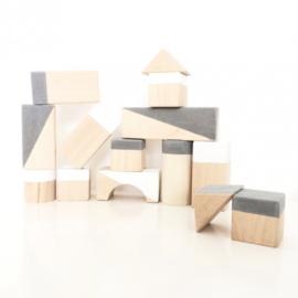 Houten Blokken Geometrisch Grey (concrete) & White