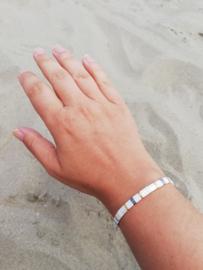 IBY Miyuki armband White with a Golden touch