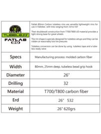 Fatlab 80 mm Carbon tubeless velg