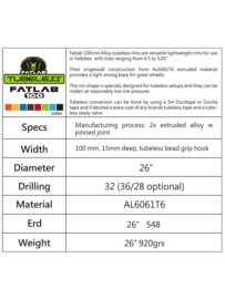 Fatlab 100 mm Alloy tubeless velg